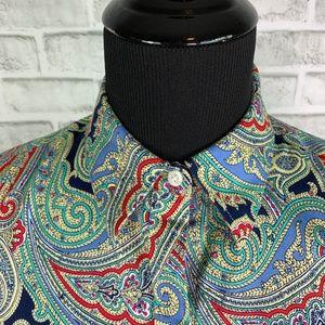 Chaps Dagger Collar Paisley & Polka Dot Button Up